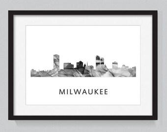 Milwaukee, Wisconson skyline WB BW
