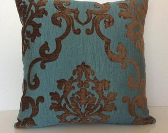 Chocolate Brown and Teal Pillow, Throw Pillow Cover, Decorative Pillow Cover, Cushion Cover, Pillowcase, Accent Pillow, Velour Blend Pillow