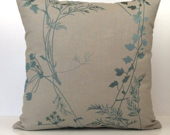 Turquoise Blue and Natural Pillow, Throw Pillow Cover, Decorative Pillow Cover, Cushion Cover, Accent Pillow, Silk Embroidery, Cotton Blend.