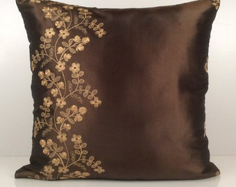 Chocolate Brown Pillow, Throw Pillow Cover, Decorative Pillow Cover, Accent Pillow, Silk Blend Pillow, Gold-ish Tan Floral Embroidery.