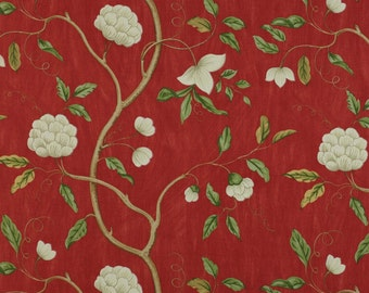 COLEFAX & FOWLER CHINOISERIE Japanese Snow Tree Floral Linen Fabric 10 Yards Red Oyster Green Amber