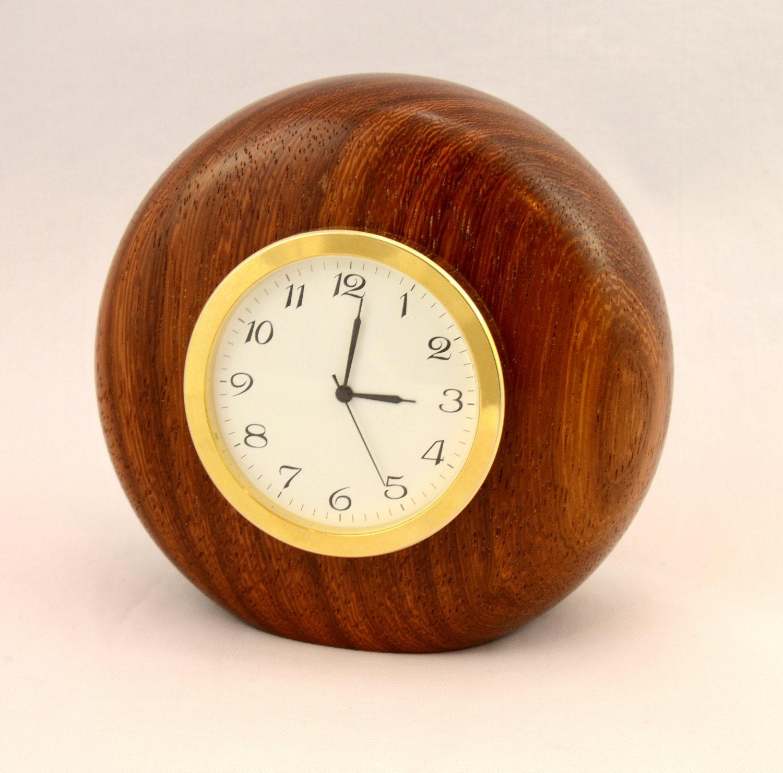 Wooden desk clock handturned exotic wood