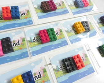 Building Brick Crayons | 10 Party Favours Crayons | Party Bag Filler | Construction Party | Birthday Party ideas | Lego Party | Kids Favours