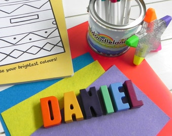 Name Crayons | 6 Letters | Personalised gift | Birthday present for children | Unique gift | Novelty Crayons | Crayons | Kids Wedding Favour