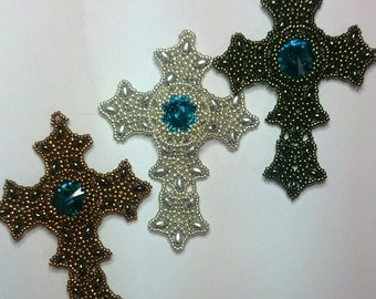 Handmade beaded cross pendant. Can be made in various colors.