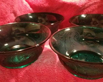 Tiara Glass Spruce Green Tiara Glass soup-cereal bowls