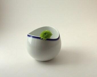 Mid Century Modern Thomas Rosenthal White with Blue Rim Sugar Bowl, Thomas China Germany White Sugar Bowl