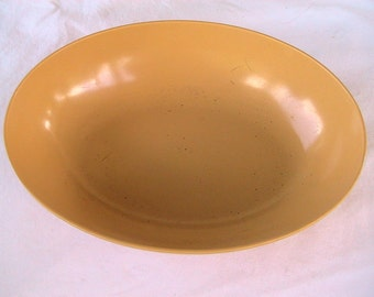 Brown Melmac Bowl Melamine Oval Mid Century Retro Kitchen Dining Pumpkin Beige Deep Creek Shabby Decor