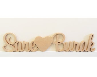 Personalised Wedding sign with a block love heart engraved with date