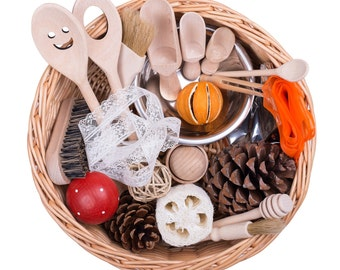 Toddler Sensory Treasure Basket - Montessori Educational Toy Gift