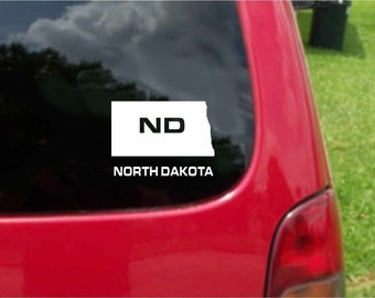 2 Pieces North Dakota ND State USA Outline Map Stickers Decals 20 Colors To Choose From.  U.S.A Free Shipping