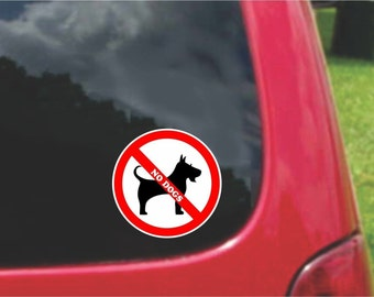 Set of No Dogs Warning Sign Stickers Decals Full Color/Weather Proof. U.S.A Free Shipping