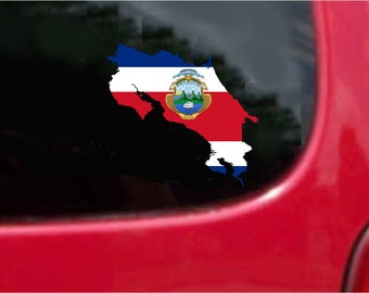 2 Pieces Costa Rica Outline Map Flag Vinyl Decals Stickers Full Color/Weather Proof. U.S.A Free Shipping
