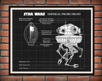 STAR WARS Imperial Probe Droid Blueprint - Schematic Art Print Wall Poster - Engineering Drawing - Schematic Drawing