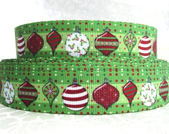7/8 inch - CHRISTMAS ORNAMENTS  -  Printed Grosgrain Ribbon for Hair Bow