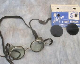 Aviator Goggles Safety Glasses Lenses Protective Eyewear Mesh Steampunk Vintage