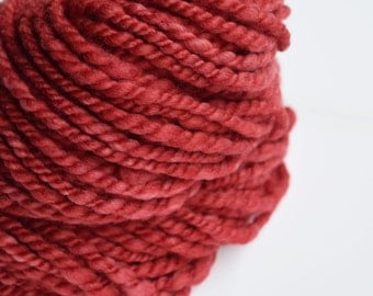Hand Spun Wool Chunky Yarn 2 ply hand dyed yarn Merino wool yarn handspun weaving knitting fibre art yarn Red 11583