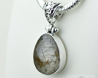 Rutile 925 S0LID Sterling Silver Pendant + 4MM Snake Chain & Free Worldwide Shipping p3537