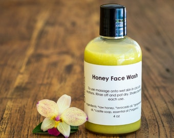 Honey Face Wash - Organic Face Wash - Organic Facial Cleanser - Natural Face Wash - Sensitive and Dry Skin Cleanser - Paleo Face Wash