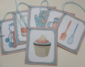 Shabby chic kitchen gift tags pink and teal gift for baker baker's tags mothers day tags measuring spoons oven mitt cupcake - set of 6