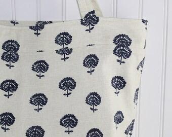 Navy Blue Thistle Print Large Tote Bag, Large Farmers Market Bag, MK151