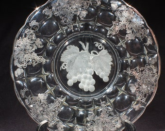 Indiana Glass Constellation with Center Intaglio Grape Design, Silver Grape Leaves Overlay, 1940s, Elegant Serving Platter, Tidbit Plate