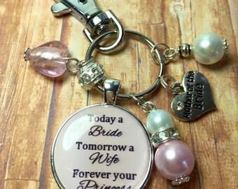 Mother Bride keyring, pink wedding keyring, Mother of Bride keychain, Brides Mother, wedding keepsakes