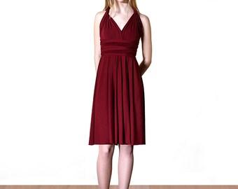 Dark Red Dress Short Skirt Dress Infinity Convertible Dress Formal Multiway New Years Eve dress Christmas dress Wrap Dress Elegant V