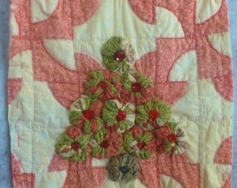 Primitive Christmas tree wall hanging, made from 1900s Adirondacks cutter quilts, One of a Kind