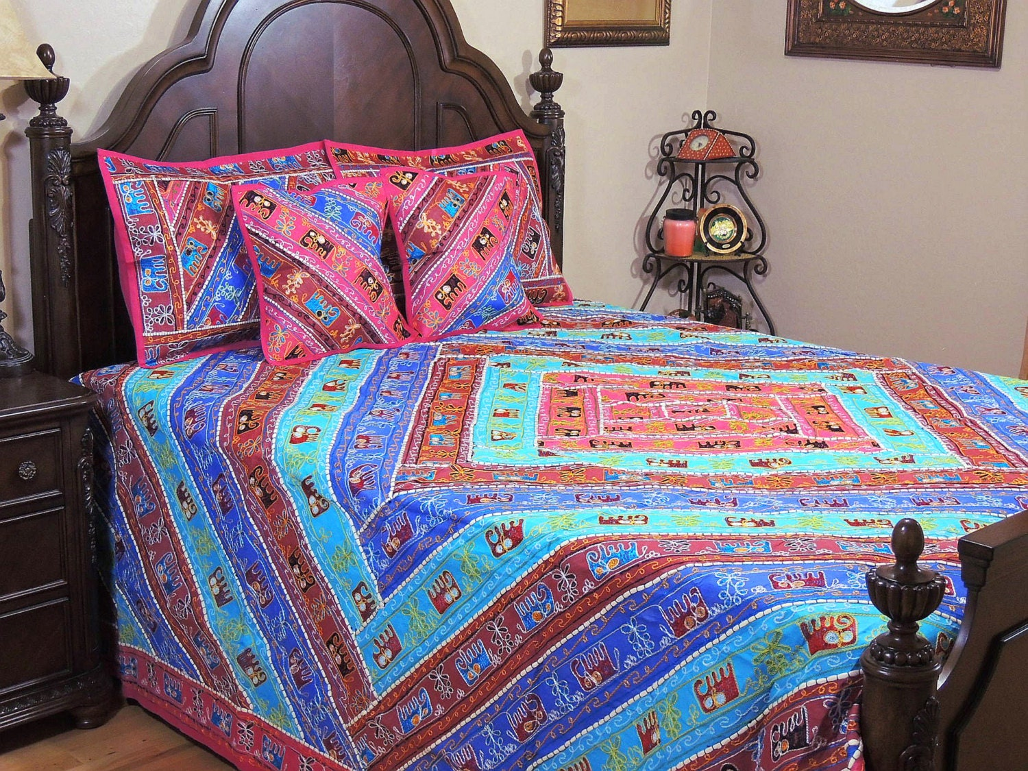 Trendy Bohemian Hand Embroidered Bedding Elephant Indian