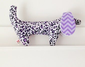 Purple leopard stuffed Doggy  Rattle with violet chevron crinkle ears