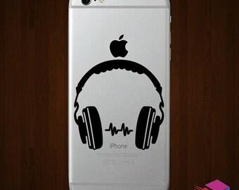 Headphones iPhone Vinyl Decal