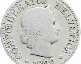 Switzerland 1882 10 Rappen Coin