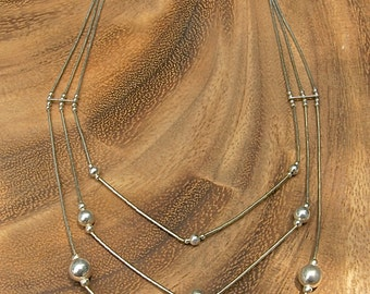 Vintage Tiered Sterling Silver Necklace