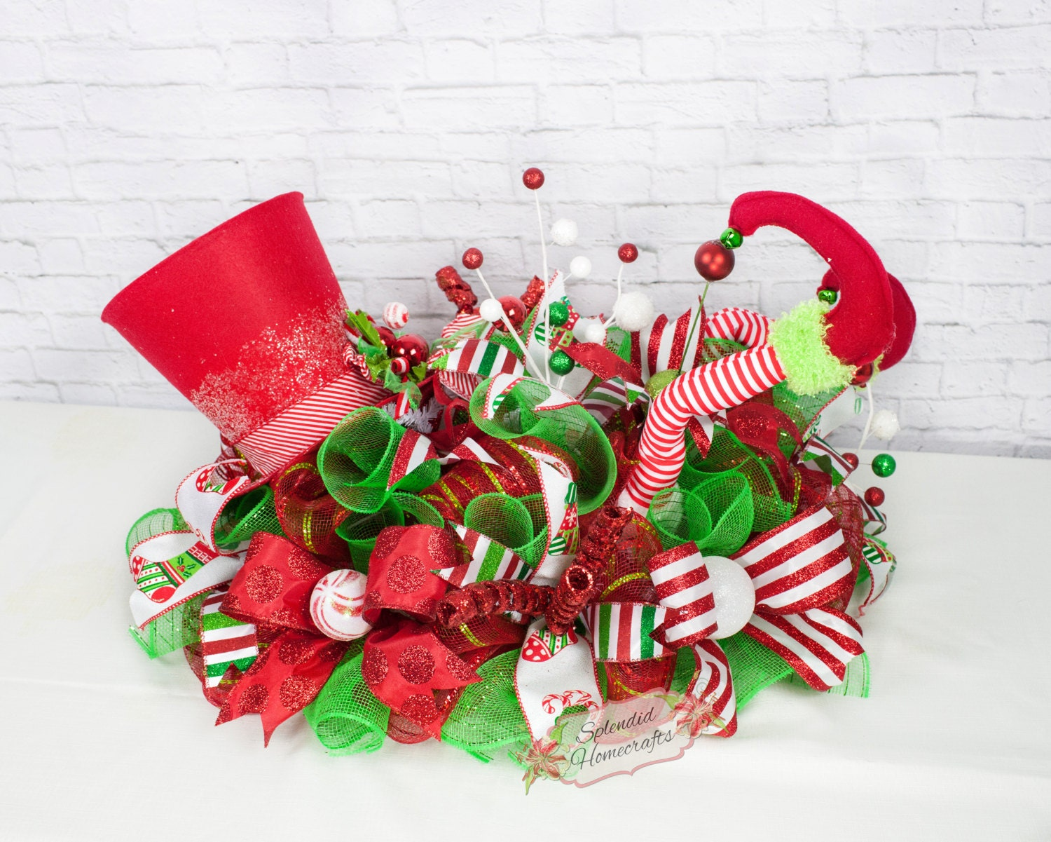 Elf centerpiece christmas legs decor top