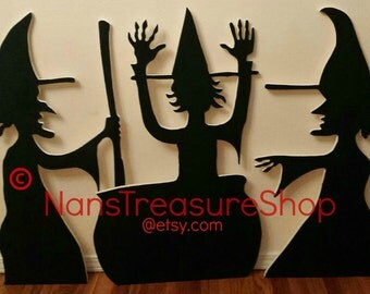 3 Silhouette Witches for Halloween. Yard Art!
