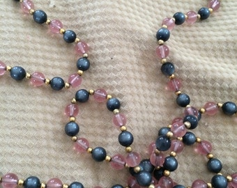 grey and pink beaded long necklace