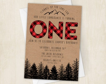 Lumberjack Birthday Party Invite - First Birthday - Wilderness - Red - Plaid - Lumber Jack Invitation - 5x7 - Digital/Printable File