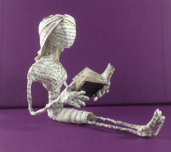 Book sculpture, Book art,  The Historian, paper sculpture, paper art, Dracula, Little reader, book lover, repurposed book, librarian