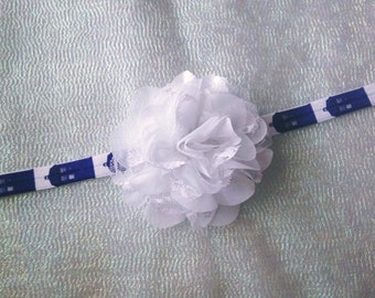 Dr. Who Lace Headband/Lace Flower Headband/Newborn Headband/Infant Headband/Toddler Bow