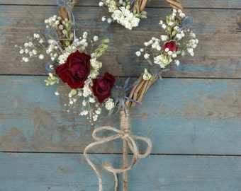 Rustic Winter Dried Flower Willow Heart Wand