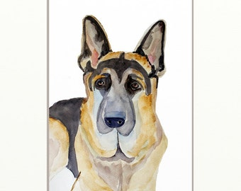 German Shepherd original watercolor painting dog painting  24x32cm (9,4x12,6in)