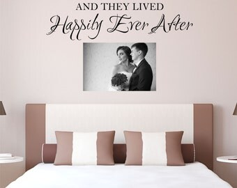 And they lived Happily Ever After Wall Decal - Bedroom Wall Decal - Wall Quotes - Vinyl Lettering - Live Laugh Love Wall Decal - Christmas