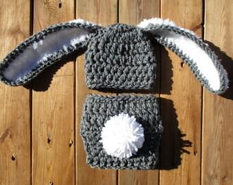 Crochet Bunny Hat Diaper Cover Set Baby Bunny Set Crochet Baby Hat Easter Bunny Rabbit Ears Easter Costume Photo Prop