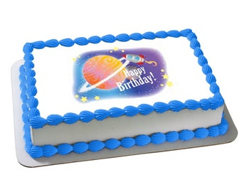 OUTER SPACE PARTY edible cake and cupcake topper