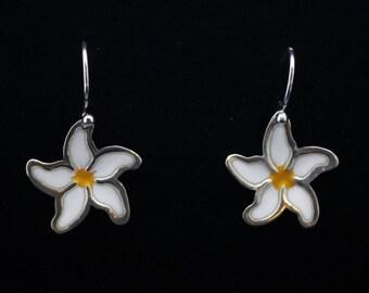 Delicate Daisy - Enamelled Sterling Silver Earrings