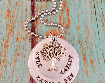 Hand stamped custom family tree Necklace