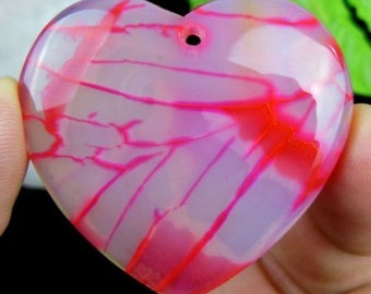 Beautiful unique red dragon veins agate heart pendant bead s00268