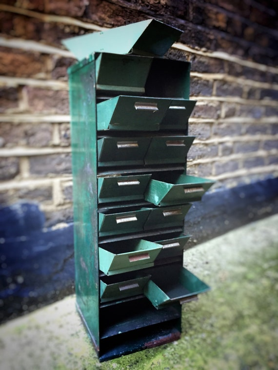 French Industrial set of metal cabinet with drawers