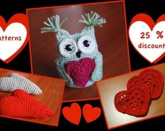 Valentine's day crochet pattern bundle, 3 patterns 25% discount, owl holding heart, filled heart, heart coaster, heart crochet patterns